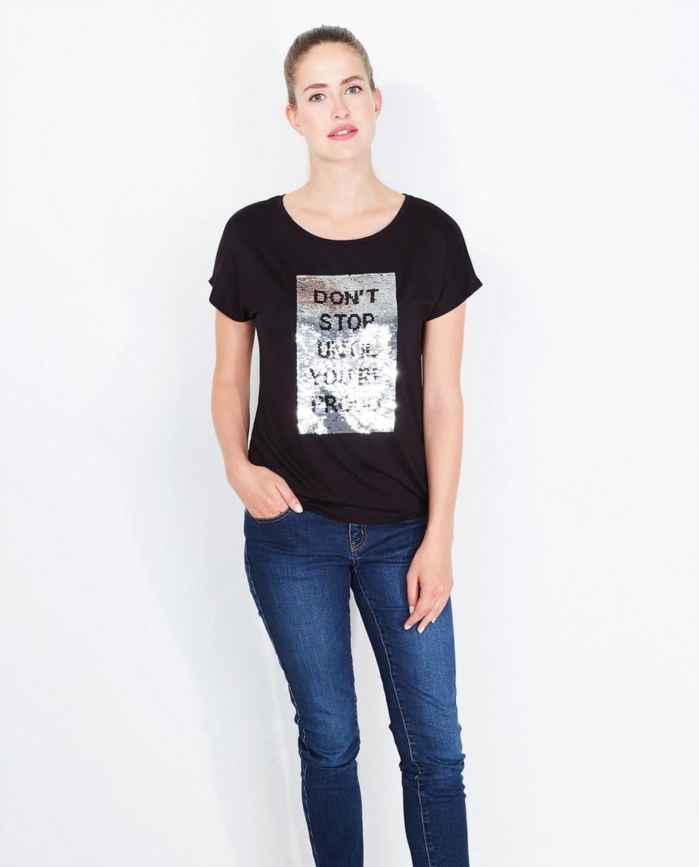 T-shirt noir à message - coupe oversized - JBC